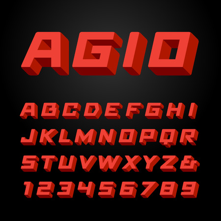 army: Isometric font. Vector alphabet with 3d effect letters and numbers.