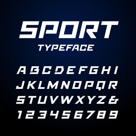police Sport. Vector alphabet avec des lettres et des chiffres latins.