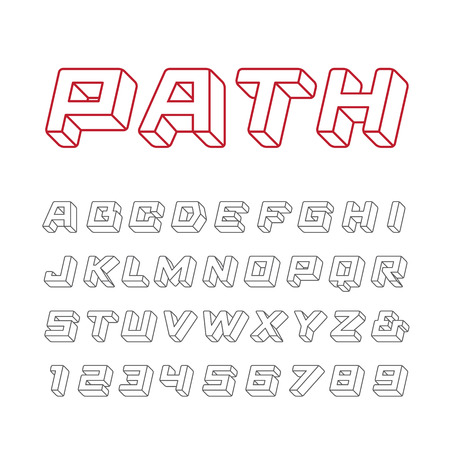 tipos de letras: fuente lineal. El alfabeto del efecto 3d con letras y números. Vectores