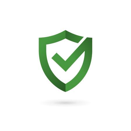 garrapata: Elementos del modelo del logotipo de la marca de verificaci�n escudo icono del dise�o