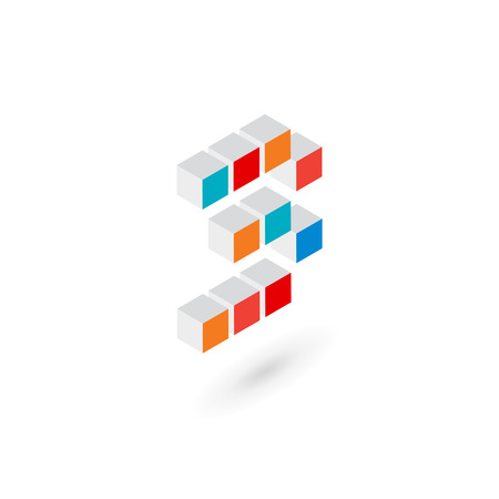 number 3: 3d cube number 3   icon design template elements