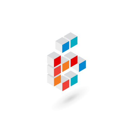 number 6: 3d cube number 6   icon design template elements