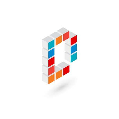 letter art: 3d cube letter D   icon design template elements