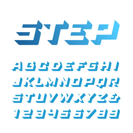 Isometric font. Vector alphabet with 3d effect letters and numbers.