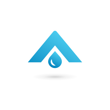 distilled: Letter A water drop  icon design template elements