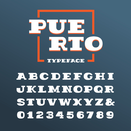 western script: Wide slab serif font. Vector alphabet with latin letters and numbers.