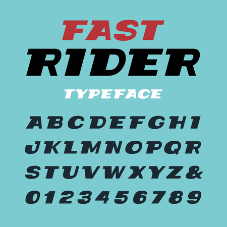 italic: Wide italic font. Vector alphabet with latin letters and numbers. Illustration