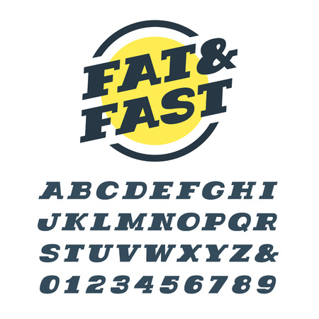 slab: Wide italic slab serif font. Vector alphabet with latin letters and numbers.