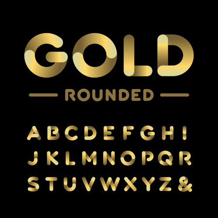 Golden rounded font. Vector alphabet with gold effect letters. Illustration