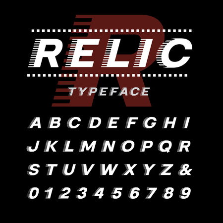 italic: Italic font. Vector alphabet with latin letters and numbers. Illustration