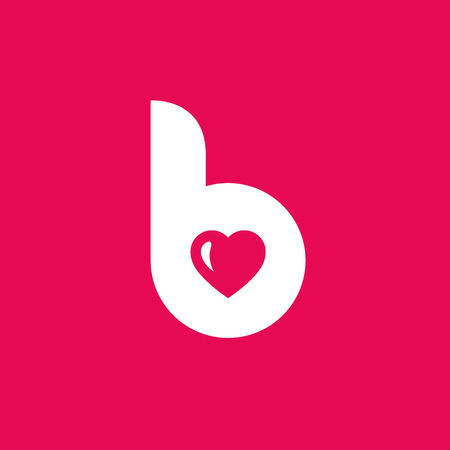 b days: Letter B heart icon design template elements