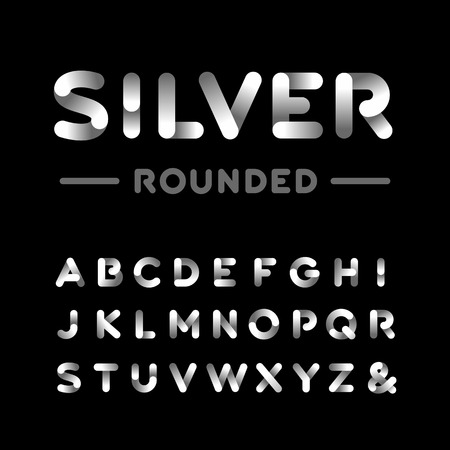 cromo: Plata redondeado fuente. El alfabeto del efecto de cromo con letras.
