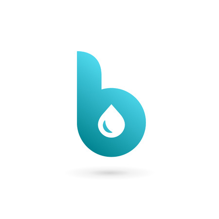 Letter B water drop icon design template elements