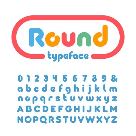 Rounded font. Vector alphabet with donut effect letters and numbers. Illustration
