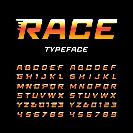 carattere sportivo. Vector alfabeto con lettere effetto coda e numeri.