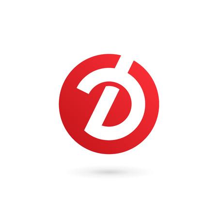 文字 D ロゴ アイコンのデザイン テンプレート要素