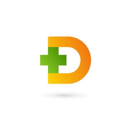 Letter D cross plus logo icon design template elements 일러스트