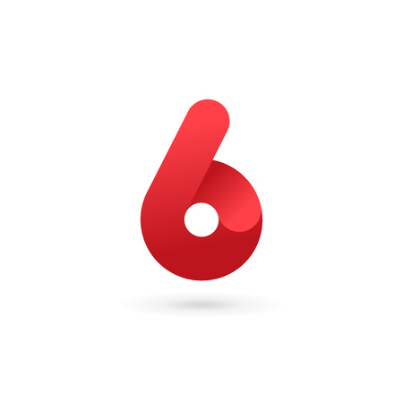 Number 6 logo icon design template elements