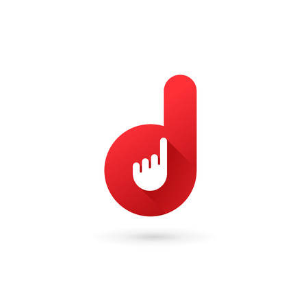 touch: Letter D hand logo icon design template elements
