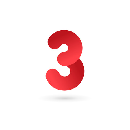 number 3: Number 3 logo icon design template elements