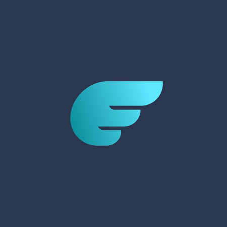 wing logo: Letter E wing logo icon design template elements
