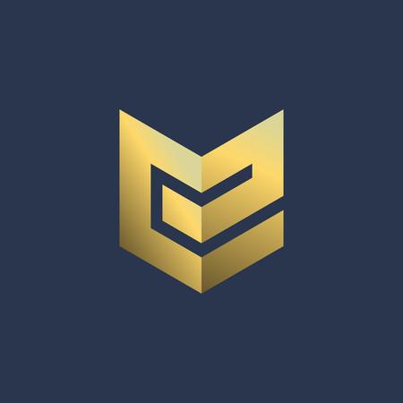 E シールド ロゴ アイコンのデザイン テンプレート要素