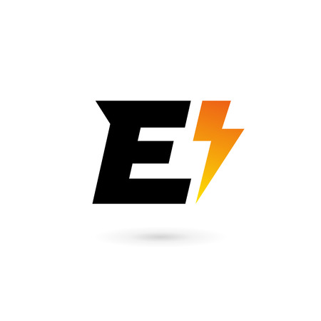 Letter E lightning logo icon design template elements