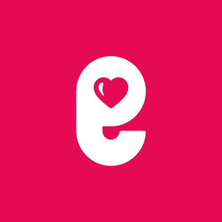 letter e heart logo icon design template elements royalty free