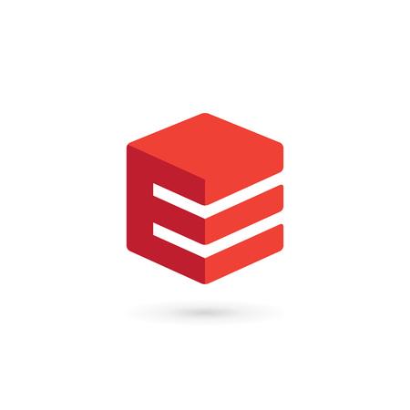 E ロゴ アイコンのデザイン テンプレート要素