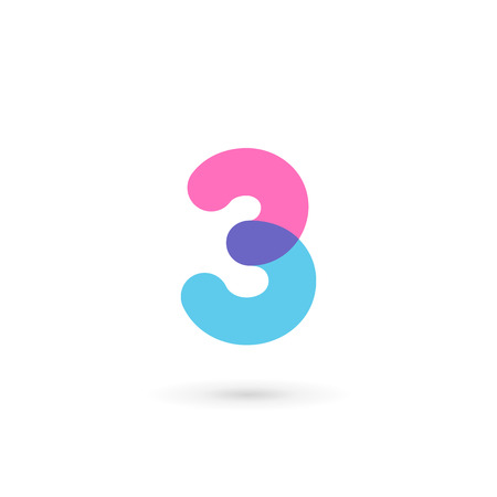 number icon: Number 3 logo icon design template elements