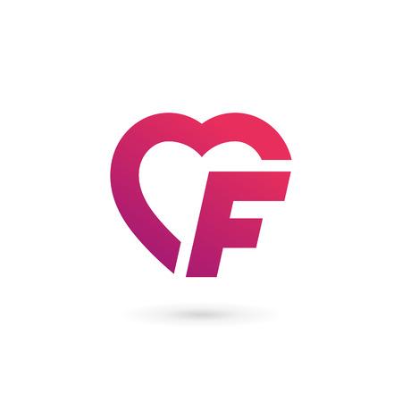 Letter F heart logo icon design template elements