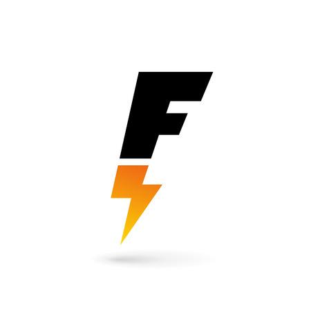 Lettera F fulmine logo elementi del modello icona del design