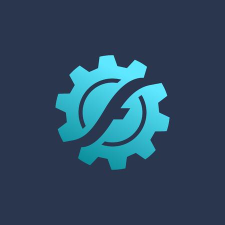 logo tecnología de elementos de plantilla icono del diseño de la letra F