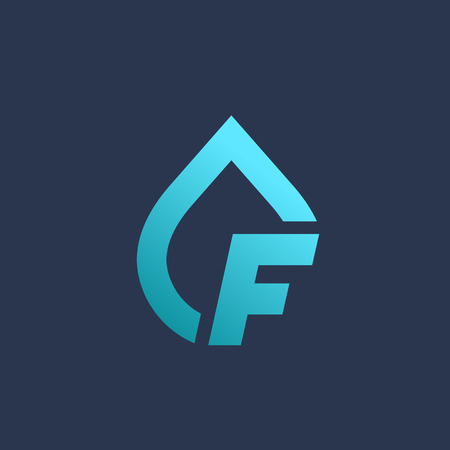 bottled water: Letter F water drop logo icon design template elements Illustration