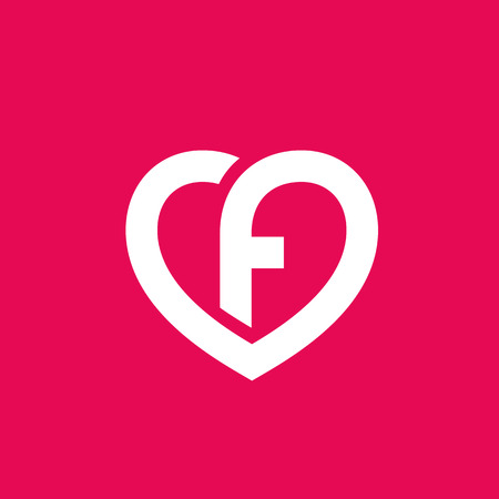 Letter F heart icon design template elements