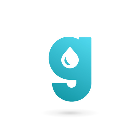liquid g: Letter G water drop icon design template elements
