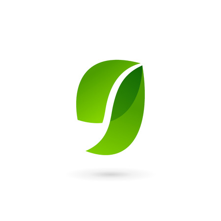 Letter G number 9 eco leaves icon design template elements