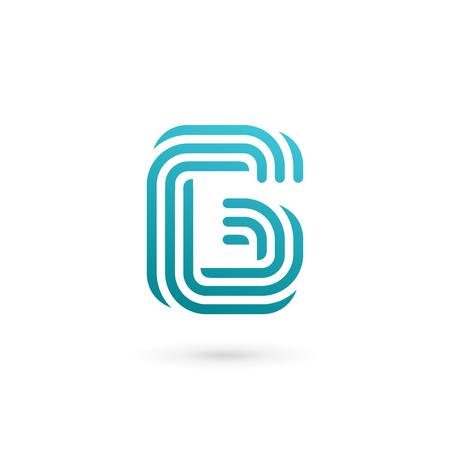 number 6: Letter G number 6 icon design template elements