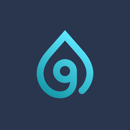 liquid g: Letter G number 9 water drop icon design template elements