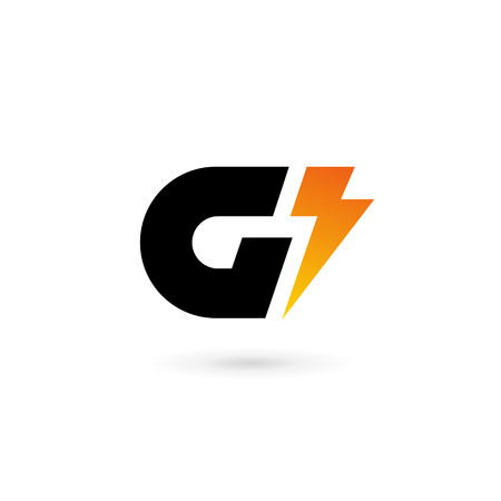 Letter G lightning logo icon design template elements
