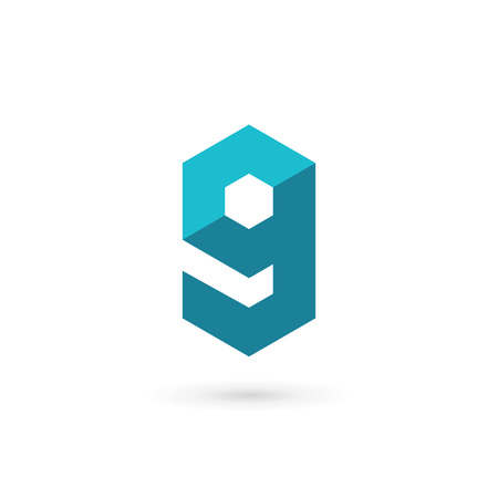 number 9: Letter G number 9 technology  icon design template elements