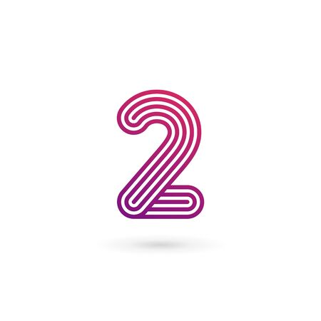 number icon: Number 2  icon design template elements Illustration