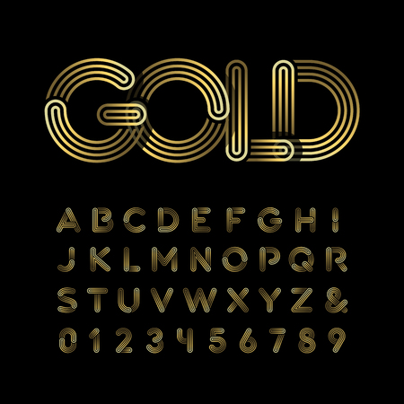 letras cromadas: Fuente de oro. El alfabeto del oro con las letras y los números de efecto.
