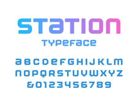 Rounded square font. Vector alphabet with latin letters and numbers.