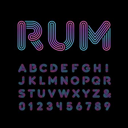 Neon carattere. Vector alfabeto con lettere al neon effetto strisce e numeri. Archivio Fotografico - 66637774