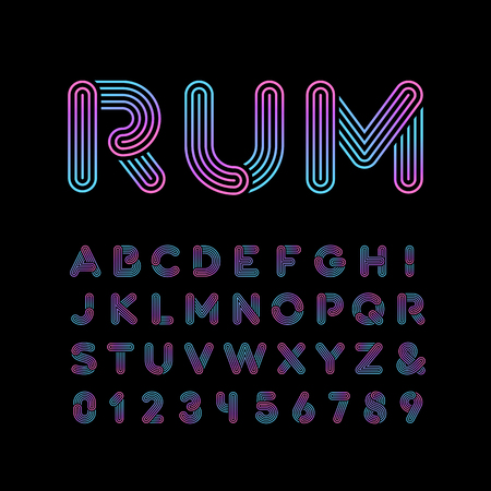 neon light: Neon font. Vector alphabet with neon stripes effect letters and numbers.