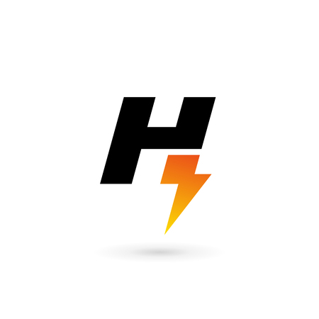 lightning arrow: Letter H lightning logo icon design template elements