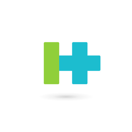logo medicina: Letter H cross plus logo icon design template elements Vectores