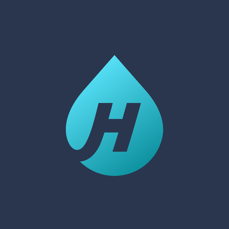 distilled: Letter H water drop   icon design template elements