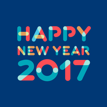 happy new year text: Happy new year 2017 greeting card design Illustration